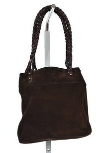 Ralph Lauren Womens Textured Suede Handbags Satchel in Brown