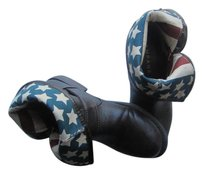Rampage American Flag Buckle Zipper Brown Boots