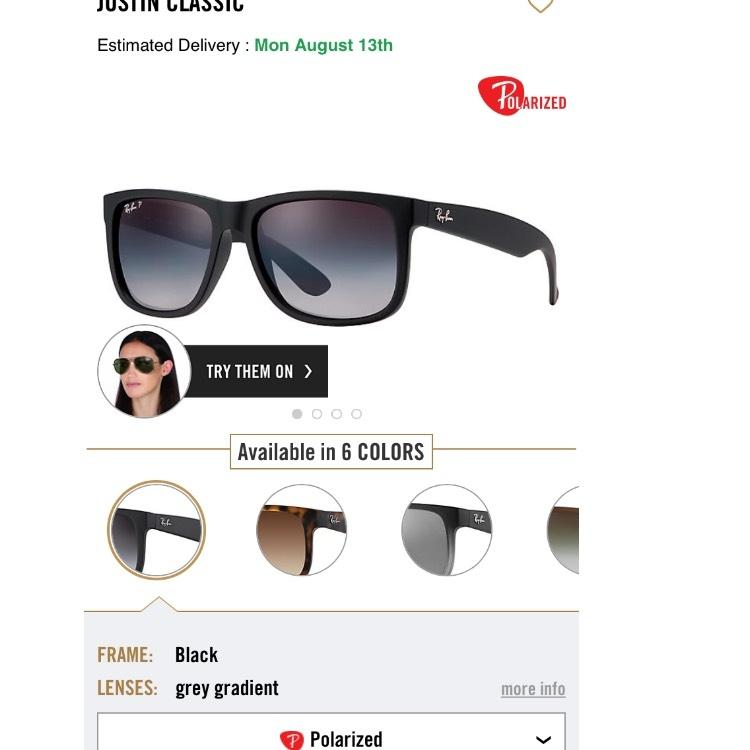 663d9acad2 ... sweden ray ban classic justin polarized rb4165 622 8g 54mm 5ec58 c9a76
