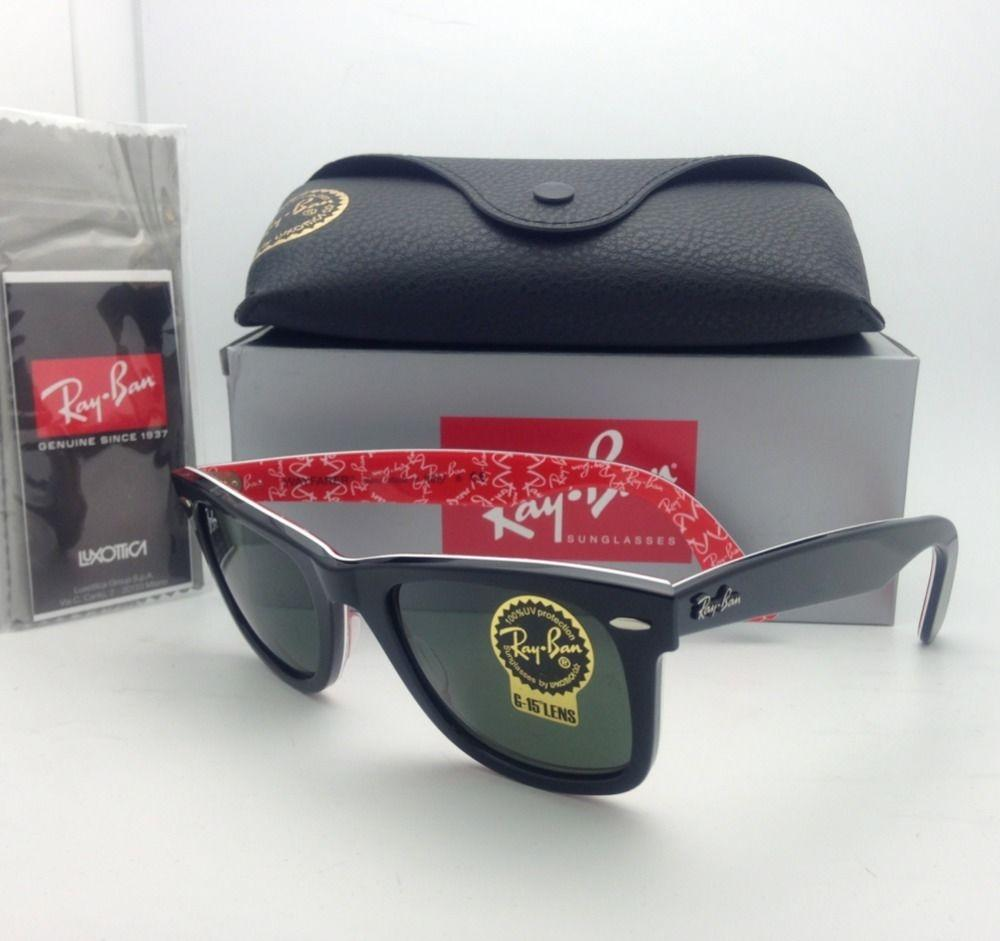 0c667e42f4 Ray Ban Rb2140 Wayfarer Sunglasses Black Frame Crystal Green Lense ...