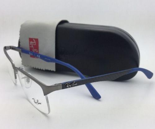 fcaca22e98 ... authentic ray ban new rx able rb 8411 2620 54 17 gunmetal blue w carbon  fiber