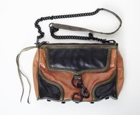 Rebecca Minkoff Blackbrown Mac Colorblock Leather Handbag Cross Body Bag