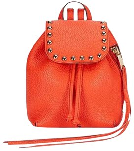 Rebecca Minkoff New With Tags Leather Orange Gold Studded Backpack