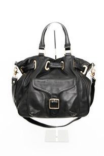 Rebecca Minkoff Leather Gold Buckle Flap Handbag Satchel in Black