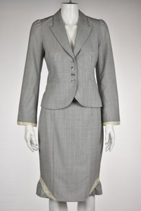 Rebecca Taylor Rebecca Taylor Womens Gray Plaid Skirt Suit Wtw Long Sleeve Knee Length