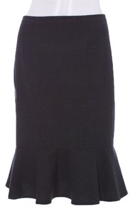 Rebecca Taylor Ruffle Wool Fitted Flare Straight Stretchy Skirt Charcoal