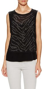 Rebecca Taylor Silk Studded Embellished Beaded Edgy Top Black