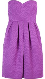 Rebecca Taylor short dress Purple Strapless Violet Animal Sweetheart Pleated on Tradesy