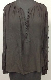 Rebecca Taylor Sheer Silk Lace Sleeve Button Accent 934 A Top Black
