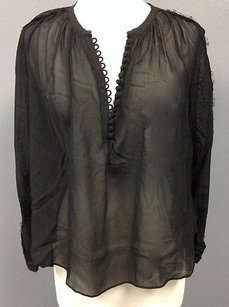 Rebecca Taylor Silk Sheer Lace Accented Long Sleeve 954 A Top Black