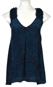Rebecca Taylor Womens Animal Print Sleeveless Shirt Top Blue