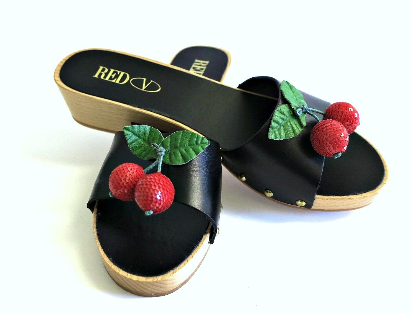 Rouge  valentino valentino  noir et cherry sandales taille nous 8 72e1be