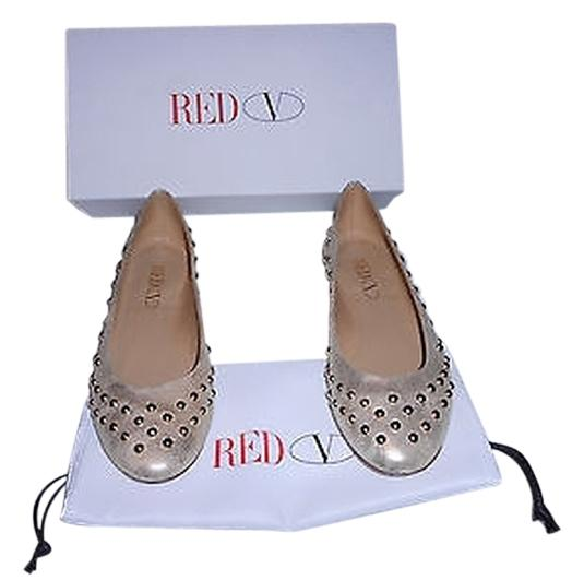 RED Valentino Silver Studded Distressed Leather Ballet Flats Size EU 39 (Approx. US 9) Wide (C, D)