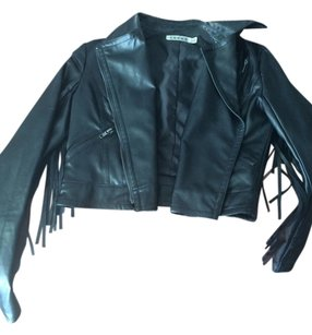 Rehab Fringe Faux Leather Black Jacket