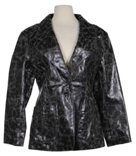 Rem Garson Womens Distressed Patent Leather Coat Basic Blac Jacket