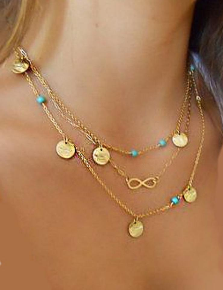 Multi layered Gold chain layering infinity turquoise ...