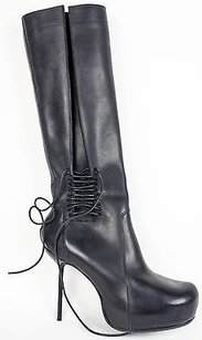 Rick Owens Lace Zip Up Stiletto Platform Knee High Black Boots