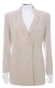 Rickie Freeman for Teri Jon Sparkle Silk Lined Vintage Gold Ivory Longsleeve Glass Embellished Champagne Blazer