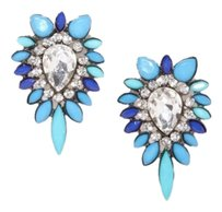 River Island Blue Hue Color Burst Crystal Earrings