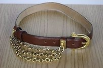 R.J. Graziano Rj Graziano Womens Brown Solid Belt Gold Buckle Leather