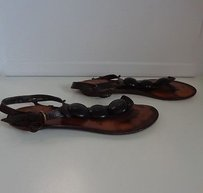 Robert Clergerie Dark Leather Casual Thick Beaded Thong B3293 Brown Sandals