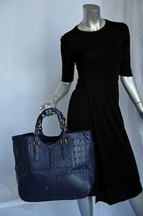 Roberto Cavalli Giant French Navy Leather Handbag Tote in Blues