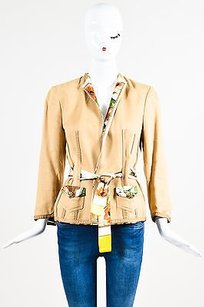 Roberto Cavalli Tan Belted Multi-Color Jacket
