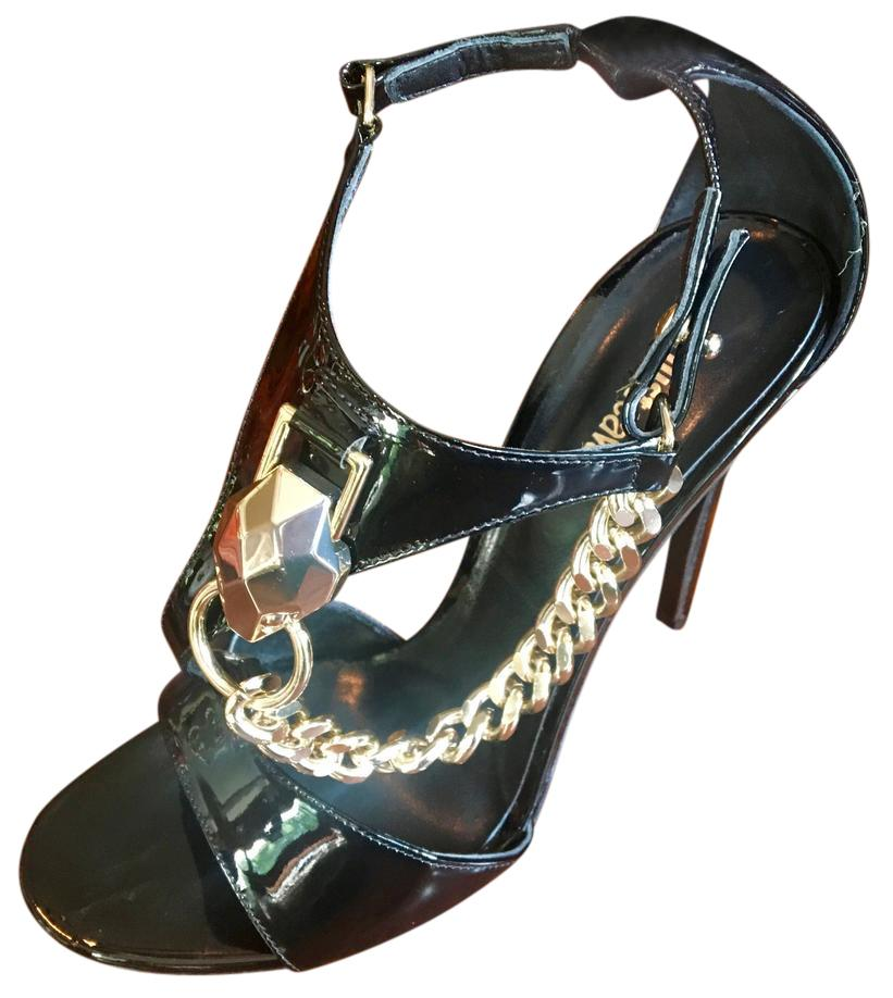 cheap how much outlet cheap authentic Roberto Cavalli Leather T-Strap Sandals w6xSwta