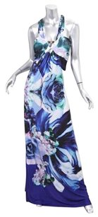 Multi-Color Maxi Dress by Roberto Cavalli Womens Blue Floral Print Halter Stretch Full Lenght