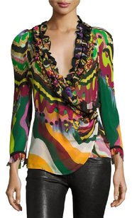 Roberto Cavalli New With Tags Neiman Marcus Never Worn Cavalli Top Green/Multi Colored