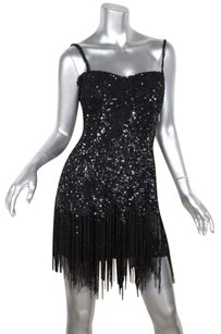 Roberto Cavalli short dress Black Womens Sequin Beaded Fringe Shift Flapper on Tradesy
