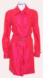 Roberto Cavalli Silk Overcoat Belted Pockets Rain Trench Coat
