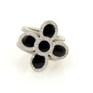 Roberto Coin Roberto Coin Diamonds Onyx Flower 18k Two Tone Cocktail Ring -