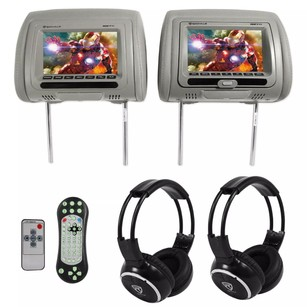 "Rockville Rockville RDP711-GR 7"" Grey Car Headrest Monitors w/DVD Player/USB/HDMI+Games+SD"