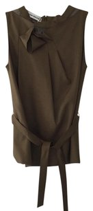 Roland Mouret Green Belted Sleeveless Shirt 8us Top Olive