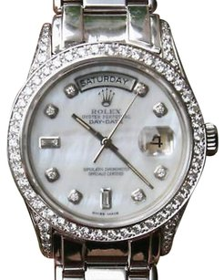 Rolex Rolex, White, Gold, Mother, Of, Pearl, Mother Of Pearl, Bezel, 36mm