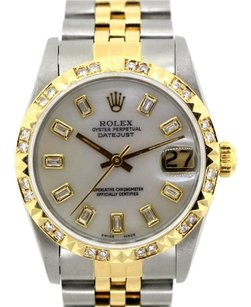 Rolex 18K GOLD SS ROLEX MIDSIZE WATCH 31 MM 2.1 CT DIAMONDS WHITE MOP DIAL