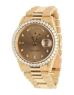 Rolex 18k Mens Yellow Gold Rolex President 18238 Day-date 36mm Diamond Watch Ct