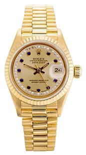 Rolex Datejust 18K Yellow Gold Champagne Custom Diamond & Blue Sapphire String Dial Ladies Watch