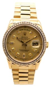 Rolex Rolex Day-Date 18238 18K Yellow Gold Custom Diamond Men's Presidential Watch