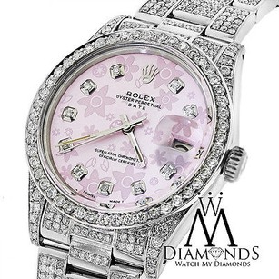 Rolex Diamond Rolex Date15200 34mm Pink Flower Diamond Dial Diamond Oyster Band