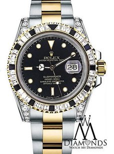 Rolex Diamond Rolex Submariner Tone 18k Gold Diamond Lugs Baguette Diamond Bezel