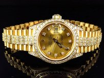 Rolex Excellent Ladies 27 Mm Rolex President Datejust 18k Yellow Gold Diamond Watch