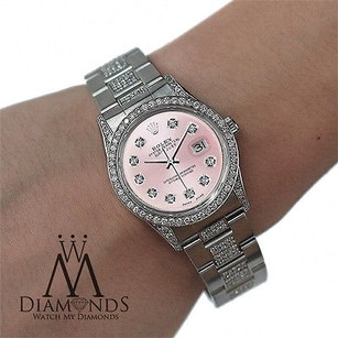 Rolex Ladies Diamond Rolex Datejust 16200 36mm Stainless Steel Oyster Pink Dial