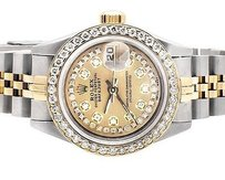Rolex Ladies Mm Rolex Tone Datejust 18ksteel Yellow Gold Dial Diamond Watch Ct