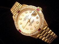Rolex Ladies Rolex 18k Yellow Gold Datejust President Watch White Mop Diamond Rubies
