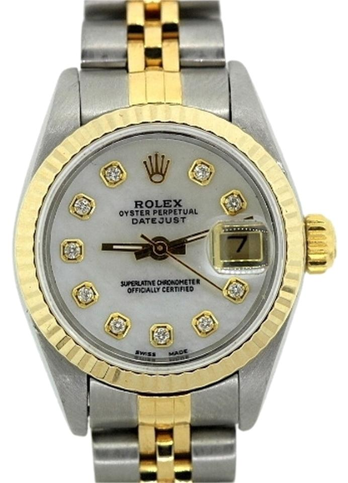 rolex ladies datejust two tone diamond bezel