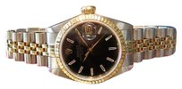 Rolex Ladies Rolex Oyster Perpetual Date Black Face Two-tone Yellow Gold And Steel