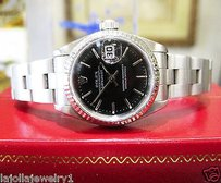 Rolex Ladies Rolex Oyster Perpetual Datejust Black Dial Fluted Bezel 26mm Watch
