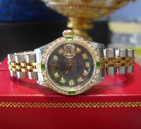 Rolex Ladies Rolex Oyster Perpetual Datejust Diamonds Mother Of Pearl Ss Gold Watch